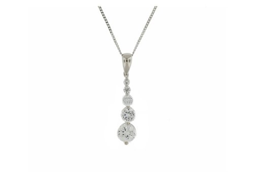 9ct White Gold Graduated Cubic Zirconia Pendant on Curb Chain 46cm