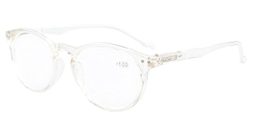 eyekepper oval round spring hinges reading glasses transparent frame 15