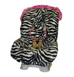 Baby Bella Maya Toddler Car Seat Cover in Zoe Zebra with Pink Ruffle - 1