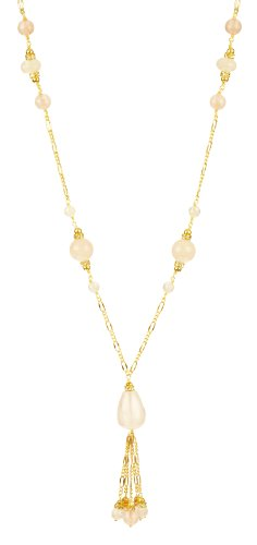 Rose Quartz Round Bead, Faceted Rondelle and Round Bead and Faceted on Gold Tone Chain with Cubic Zirconia Rondelles Drop