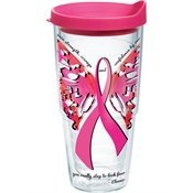 Tervis Tumbler With Fuchsia Lid, 24-Ounce, Pink Ribbon Butterfly Wrap