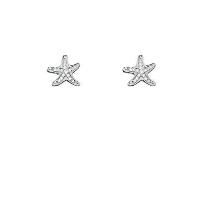 High Polished 925 Sterling Silver Button Earrings with Cute and Trendy CZ Starfish Design(WoW !With Purchase Over $50 Receive A Marcrame Bracelet Free)