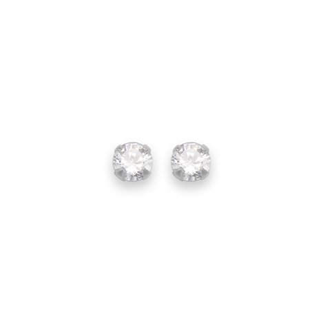 In argento Sterling, orecchini a perno rotondi in Zirconia cubica trasparente, dimensione: 4 mm, spediti in confezione regalo di prima classe della posta.