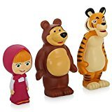 [RusToyShop] 3psc squeak Masha and the Bear Bath Toys tiger , Masha Russian Cartoon, Toy Rubber 14 Cm Gift (Russian Bear Toy compare prices)