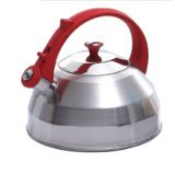Creative Home Steppes Stainless Steel Whistling Tea Kettle With Red Handle And Knob