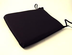 Large Black Tie-On Chair Kitchen/Dining Room Seat Pad Cushions
