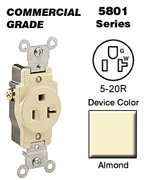 Leviton 5-20r Single Receptacle Commercial - Almond 5801-a