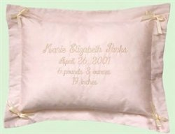 "16"" Personalized Pink Silk Embroidered Baby Pillow"