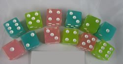 Glow in the Dark Assorted Colors 16mm 6 Sided Dice 12 ea in Box