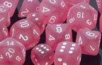 Polyhedral 7 Die Frosted Dice Set Pink with White