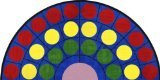 Joy Carpets Kid Essentials Early Childhood Half Round Lots of Dots Rug, Multicolored, 13'2""