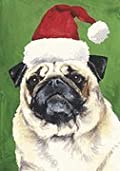 Pug Santa Hat Dog Breed Flag 12'' x 18