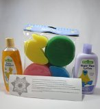 Best Baby Bath Kit For New Babies-4 Piece Baby Bath Gift Set- Sesame Street Hypo-Allergenic Gentle Baby Shampoo 10 Fl Oz, Sesame Street Calming Lavender Scent Night Time Lotion 10 Fl Oz, 4-Pack of Colorful Fun Bath Sponges, Bundle Master Bundle Official Seal and Guide - 1