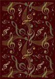 "Joy Carpets Kid Essentials Music & Special Needs Virtuoso Rug, Burgundy, 3'10"" x 5'4"""