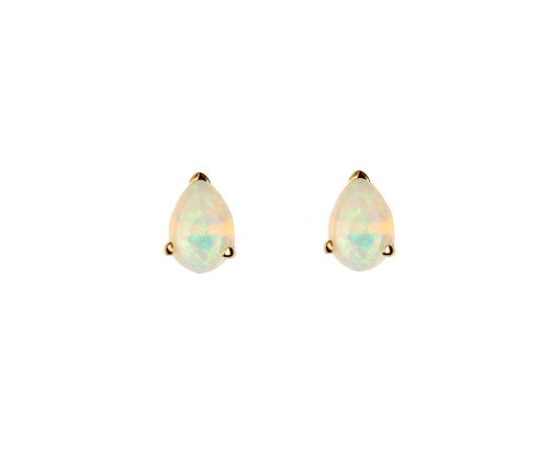 9ct Yellow Gold 6x4mm Pearshape Real Opal Stud Earring