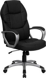 Flash Furniture Qd-5029-Bk-Gg High Back Leather Executive Office Chair, Black/Silver