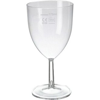 Clarity Polystyrene Wine Glass CE Lined @175ml (Box 48) - great for parties, bbqs, picnics and events