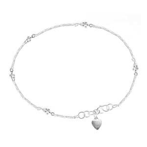Engravable Sterling Silver Heart Tag Anklet