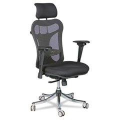 ** Ergo Ex Executive Office Chair, Mesh Back/Upholstered Seat, Black/Chrome ** front-576116