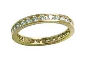 Size 7 Eternity Channel Set Cubic Zirconia Band 14k Yellow Gold Ring