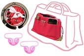KIT PROMO POCHETTE SAC A MAIN ROSE ACCROCHE SAC ANSE