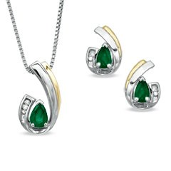 Pear-Shaped Emerald and Diamond Accent Pendant and Earrings Set in Sterling Silver and 14K Gold