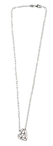 Silver 18 Inches Trace Chain and Fancy Heart Necklet