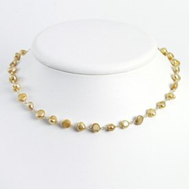 Sterling Silver Champagne Cultured Pearl Necklace - QH2758-18