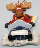 Snowmobiling Moose Christmas Ornament