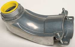 Industrial Grade 5UGX2 Connector, Flex Conduit, 90 Deg, 1 1/2 In