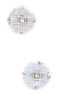 14k White Gold 8mm 9 Segment Round CZ Light Prong Set Earrings - JewelryWeb