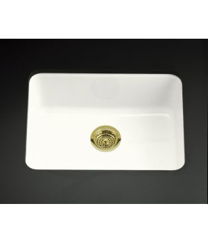 KOHLER K-6585-0 Iron/Tones Self-Rimming Undercounter Kitchen Sink, White