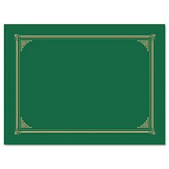** Certificate/Document Cover, 12-1/2 x 9-3/4, Green, 6/Pack **