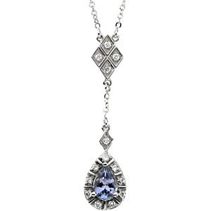 Genuine IceCarats Designer Jewelry Gift 14K White Gold Genuine Tanzanite And Diamond Necklace
