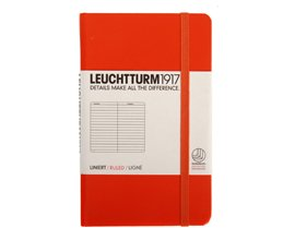 Leuchtturm 342930 Notebook Pocket (A6) lined, Hardcover, 185 numbered pages, Orange