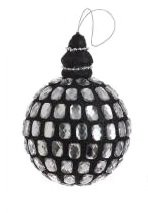 "Black Glittered Gem Christmas Ball Ornament 3.5"" (90mm)"