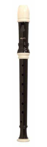Aulos 103N soprano barocco facile fori plastica per flauto dolce marrone scuro, serie Alouette, 1teilig, con custodia, scovolino, supporto pollice e manico tabella