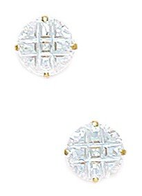 14k Yellow Gold 7mm 9 Segment Round CZ Basket Set Earrings - JewelryWeb