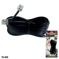 25' Ft Foot Black Phone Telephone Extension Cord Cable Line Wire With Standard Rj-11 Plugs from OEM