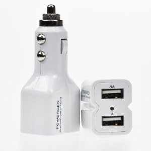 PowerGen Dual USB 3.6A 18w Car Charger for Apple iPad 1, iPad 2, The New iPad 3, iPad mini, iPhone 5 4s 4 3 3Gs, Android Phones, Samsung Galaxy Tab, Google Nexus 7, Nexus 4, Nexus 10 (USB Cable NOT included) - WHITE