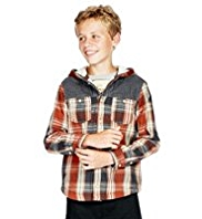 Pure Cotton Hooded Fleece Checked Shirt