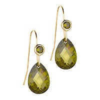 Olive Green Cubic Zirconia Earrings in 14K Yellow Gold