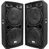 "Seismic Audio - Pair of Dual 15"" PA DJ SPEAKERS 1000 Watts PRO AUDIO - Band, Bar, Wedding, Church"