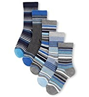 5 Pairs of Autograph Freshfeet™ Cotton Rich Fine Striped Socks with Silver Technology