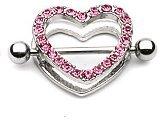 Pair of Gem Pink Paved Heart Nipple Shield Piercing Jewelry
