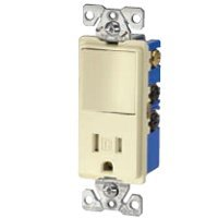 Cooper Wiring Devices Tr7730W 15-Amp 3-Wire Tr Receptacle 120-Volt Decorator Combination Single-Pole Switch With 2-Pole, White