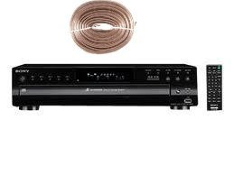 Sony Compact Disc Player - 5 Disc Carousel, Optical Output, RCA Audio Output, CD Text Display+ 100 feet of Oxygen-Free Copper Speaker Wire