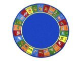 Joy Carpets Kid Essentials Early Childhood Round Animal Phonics Rug, Multicolored, 7'7""