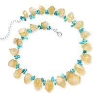 .925 Silver, Turquoise & Citrine Nugget Necklace- 16 +2 IN