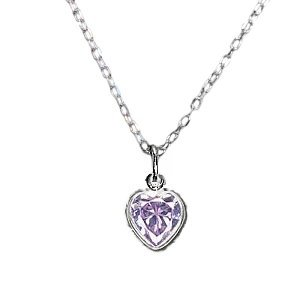 Lavender Purple Heart Necklace Cubic Zirconia and Sterling Silver Childrens and Teens